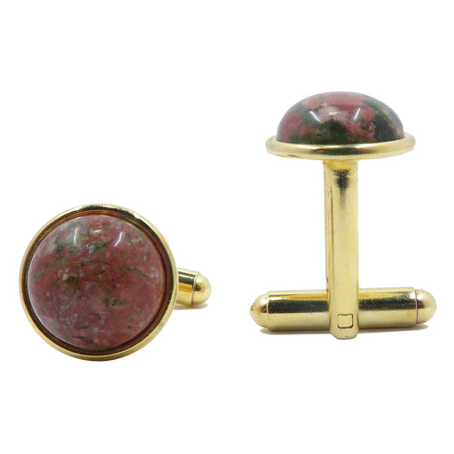 Unakite Cufflinks Gold 12mm Natural Pink Green Round Gemstone