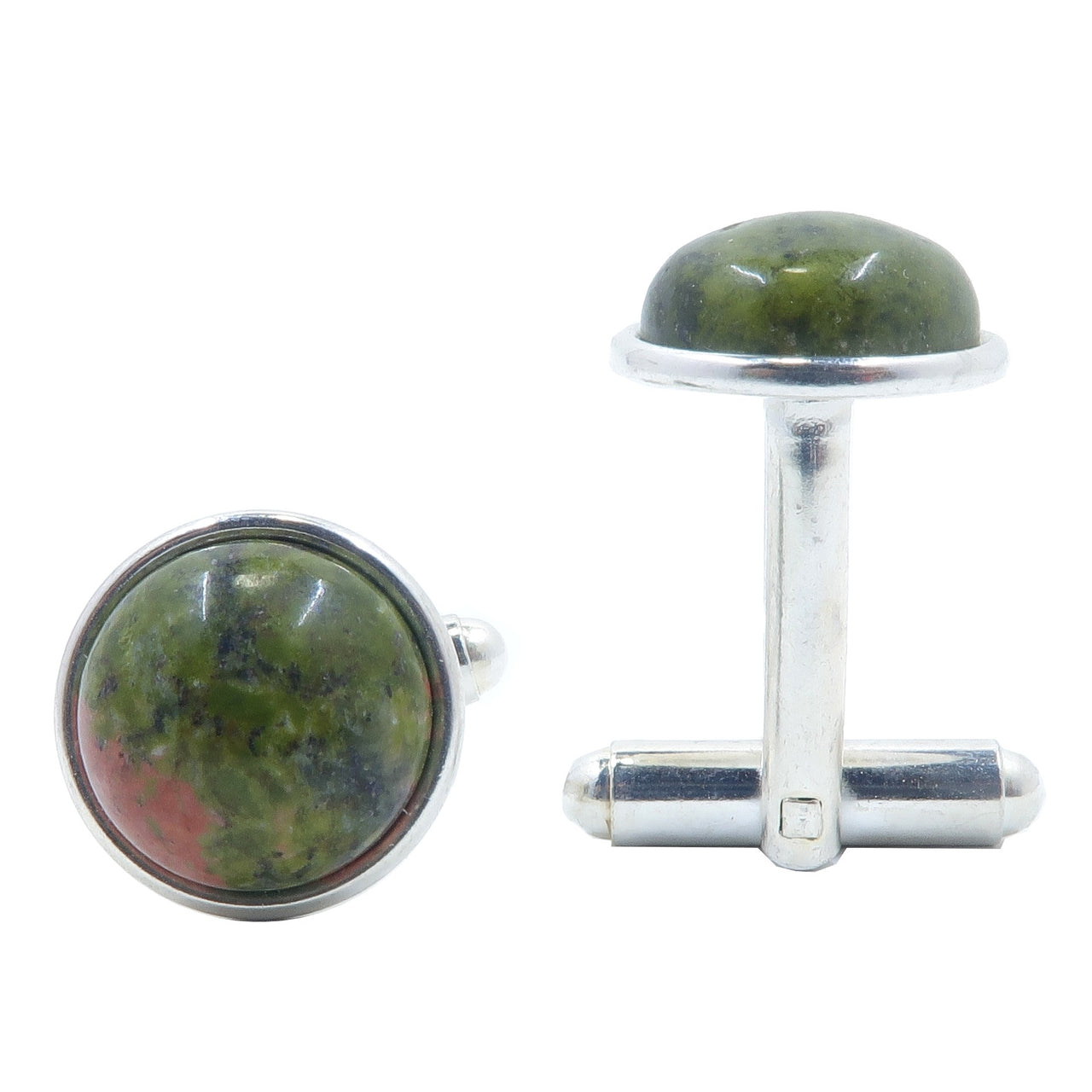 Unakite Cufflinks 12mm Boutique Pink Green Circle Gemstone Creativity Crystal B01 (Silver)