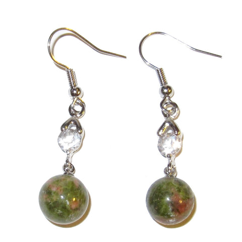 "Unakite Earrings 02 Green Pink Crystals 10mm Bead, Healthy Fertility Stones 1.8"" (Gift Box)"