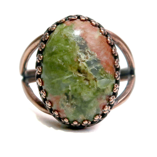"Unakite Ring 6-8"" Boutique Green Pink Oval Gemstone Adjustable B01 (Antiqued Copper)"