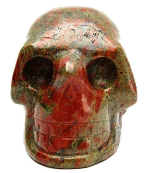 "Unakite Skull 2"" Premium Crystal Carving Green Orange Psychic Communication Stone Statue P02"