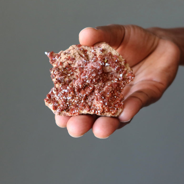 Vanadinite Cluster Sparkling Red Raw Gemstone of Fiery Vitality