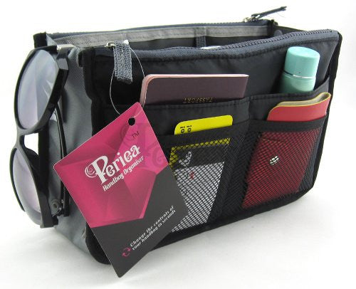 Periea Handbag Organizer, Liner, Insert 12 Compartments - Chelsy (18 Colors, 3 Sizes)