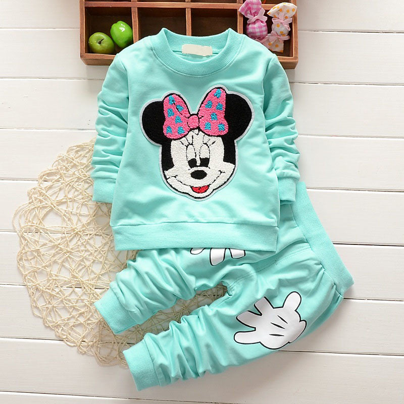 Baby Girl Outfits Fashion Baby Girl Clothes Newborn Leisure Cartoon Long Sleeved T-shirts + Pants Infant Clothing Jogging Suits