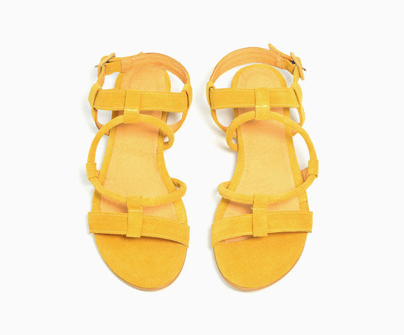 Yellow sandals ~ Designer Sandals Summer 17, Handmade sandals, Hippie Style Sandals, Bachelorette Party Favors~ Personalized Leather Shoes