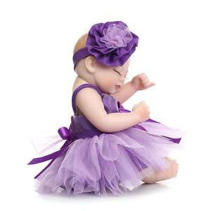Nice Reborn Baby Doll Soft Silicone Girl Toy 10in. 26cm Waterproof Purple NPK