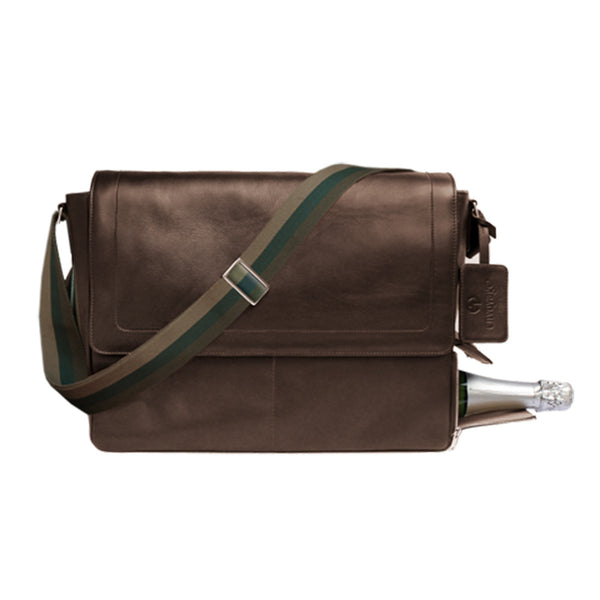 Envoyage Messenger Bag with hidden tunnel for wine bottle, calfskin, Swiss made, Mittybuilt
