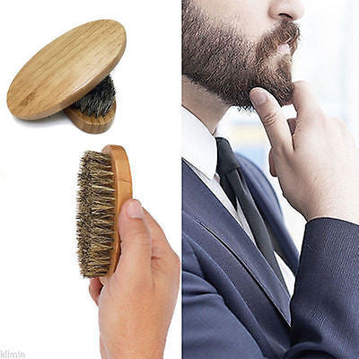 Natural Boar Bristle Beard & Mustache Brush - Bamboo