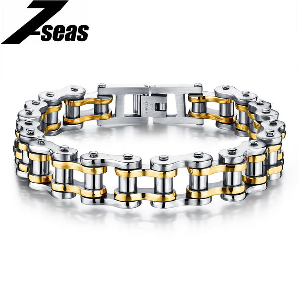 Biker Chain Bracelet - 316L Stainless Steel, available in 4 finishes