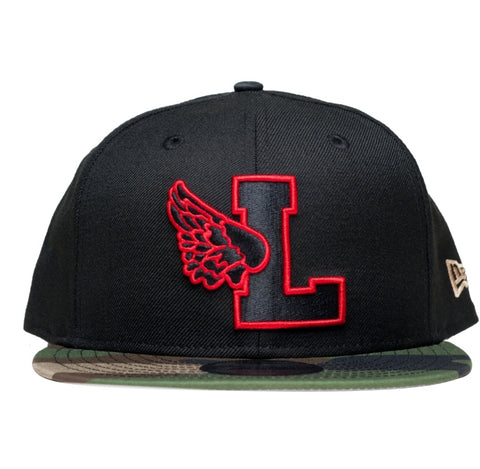 L-Wing Black/Red/Camo Snapback - leaders1354