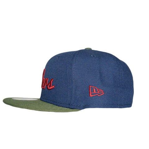 Navy/Cranberry/Olive Cursive Fitted Hat