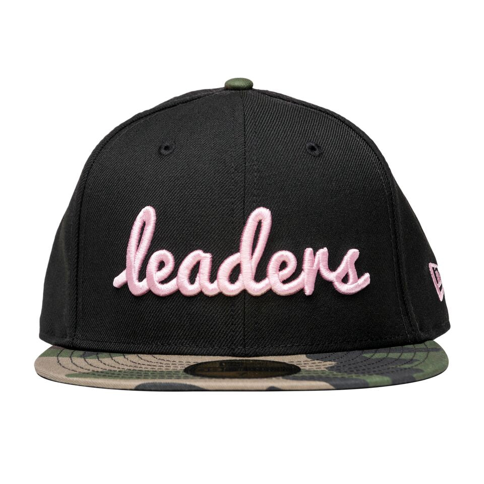 Cursive Black/Pink Camouflage Fitted Hat - leaders1354