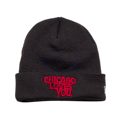 Chicago Loves You Red Beanie - leaders1354