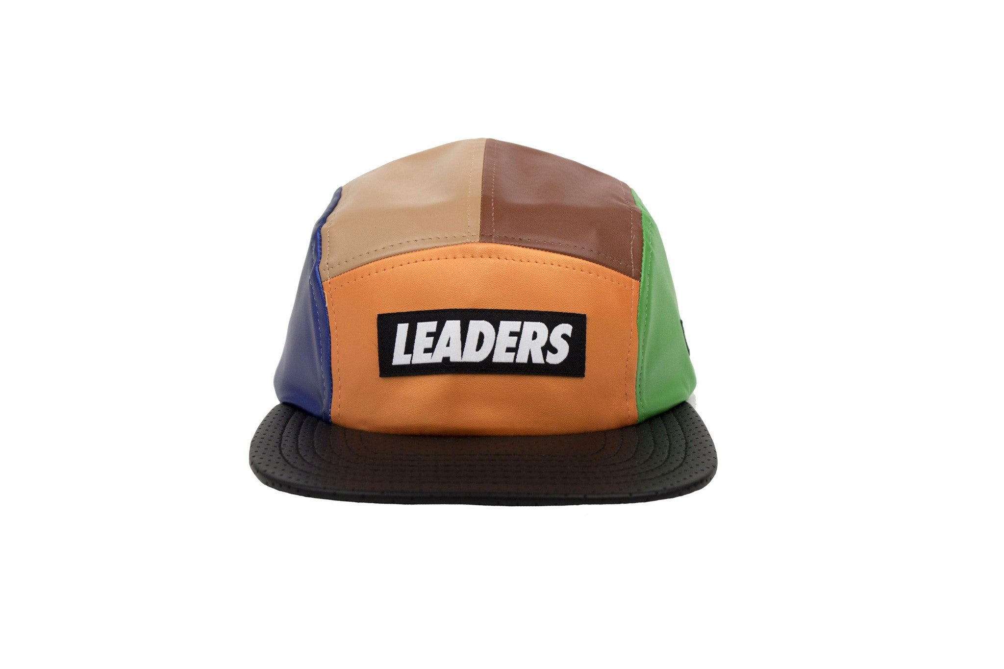 Leaders Leather 5 Panel Green/Brown Hat