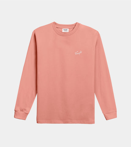 Tranquilo Embroidered LS Mock Tee Peach