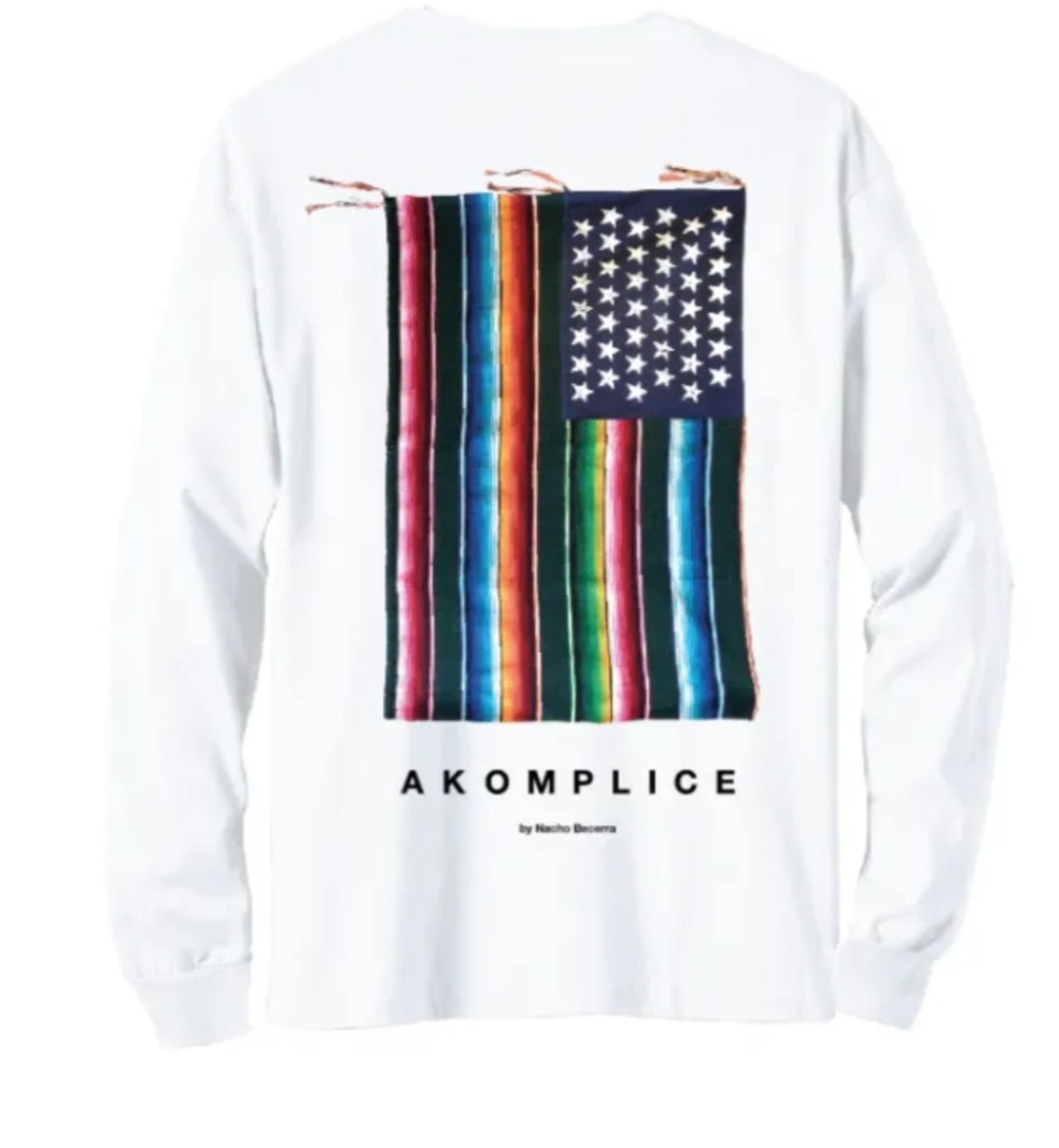 Mi Bandera L/S Tee White - leaders1354