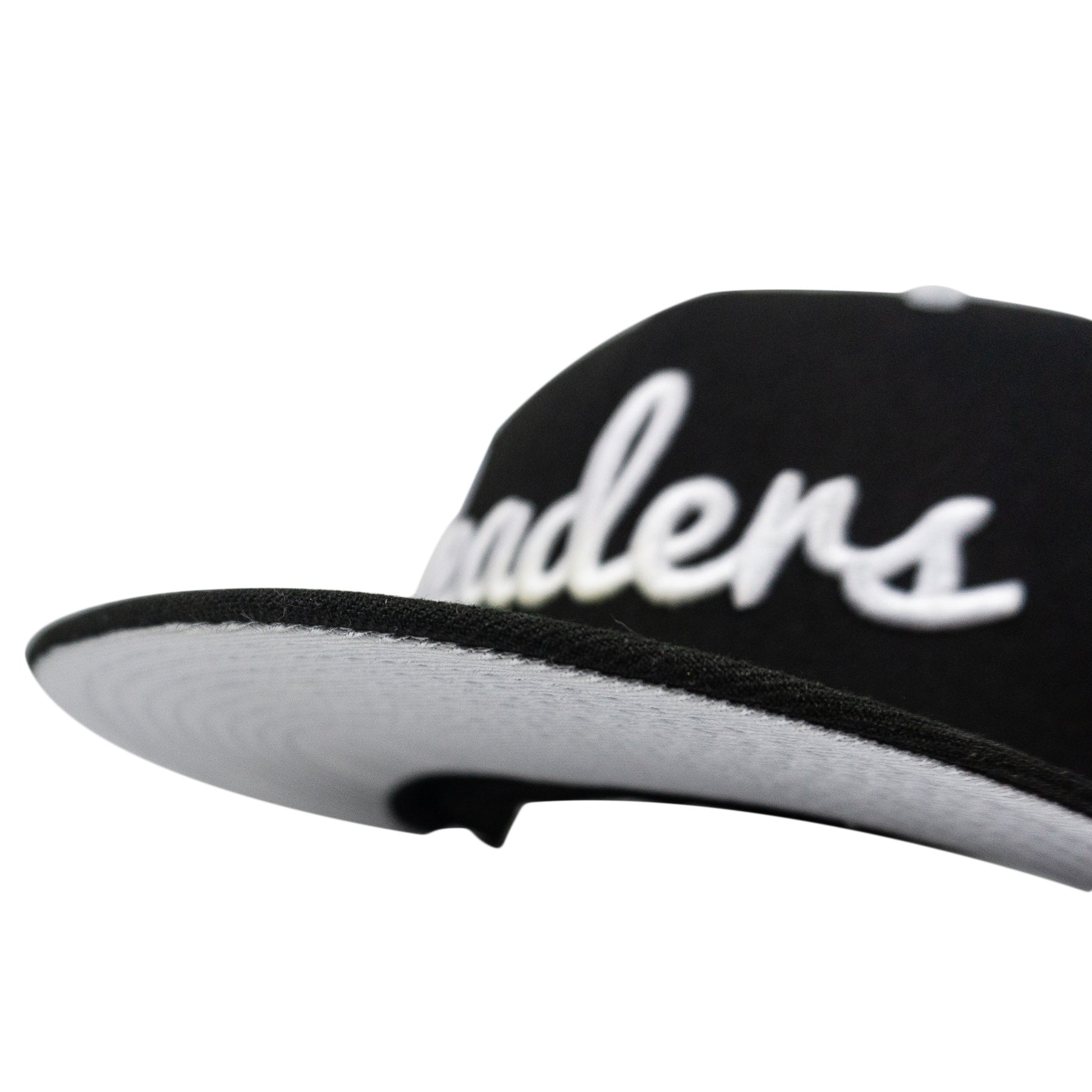 Black/ White/Silver Cursive Fitted Hat