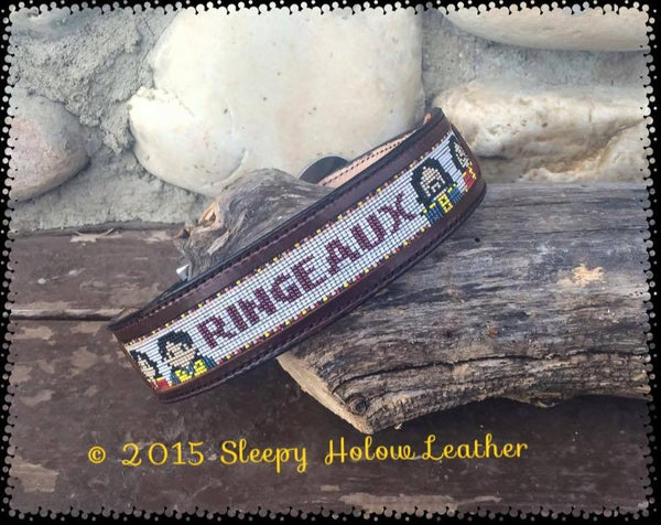 "Custom Beaded Dog Collar 1"" Width Leather Bead Inlay"