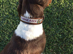 "1"" Width Leather Bead Inlay Dog Collar - Custom Order"