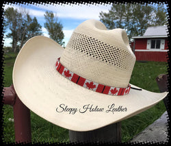 Sleepy Holow hand-beaded hat band,Canadian, Alberta made, cowboy hat