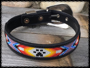 Furs 'N Hers Set - Leather Bead Inlay Dog Collar & Bracelet