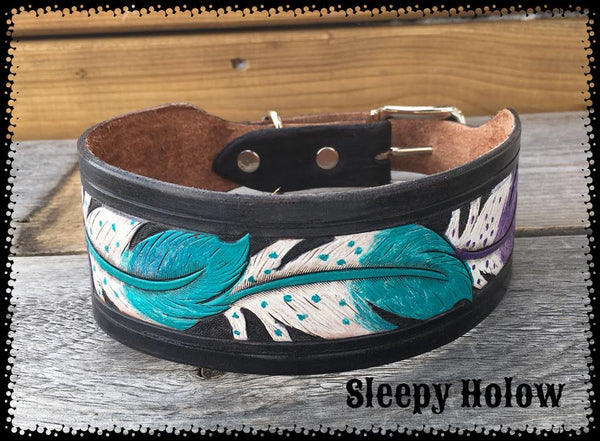 Custom Leather Feather Carved Dog Collar