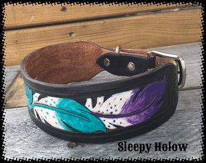 Feather Carved Dog Collar