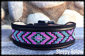 "Custom Beaded Dog Collar 1.5"" Width Leather Bead Inlay"