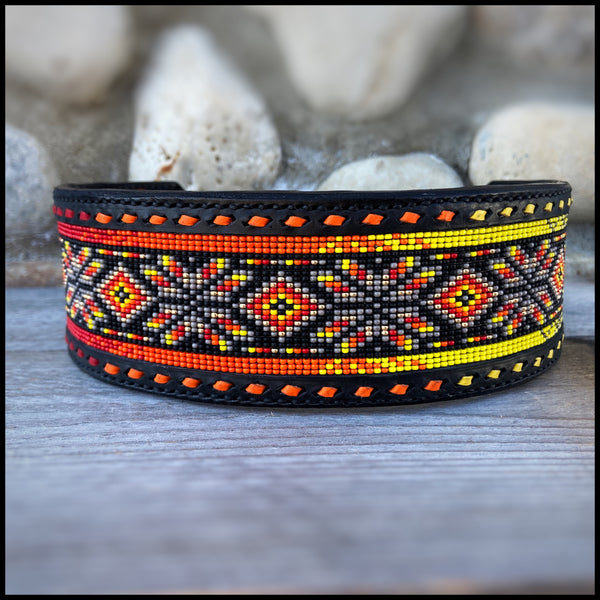 "2"" Width Leather Bead Inlay Dog Collar - Custom Order"