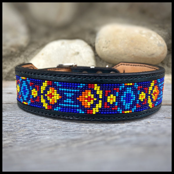"1.5"" Width Leather Bead Inlay Dog Collar - Custom Order"