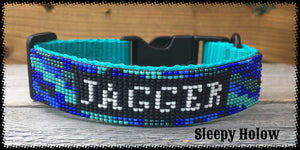 Custom Nylon Beaded Overlay Dog collars with Quick Release