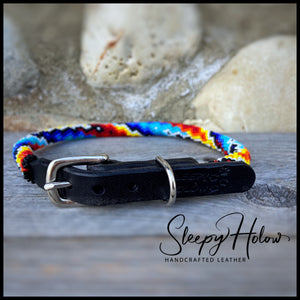 Rainbow Falls Beaded Round Leather Dog Collar