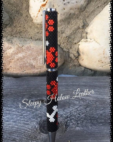 Puppy Paw and Bone ~ Custom Beaded Twist Ballpoint Pen