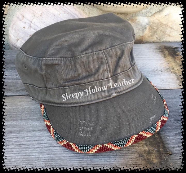 Sleepy Holow bead artist CowGirl Tiara™ hand beaded original caps,hats, beaded brim