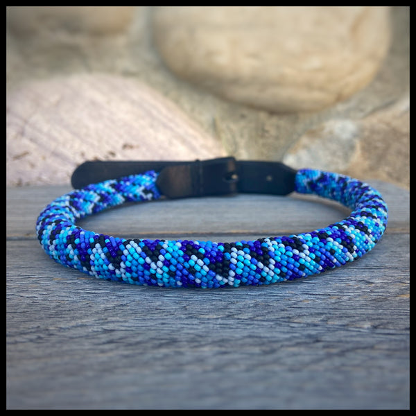 Blue Scale Beaded Round Leather Collar