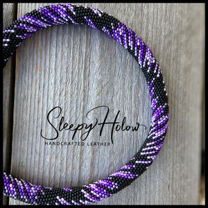 Purple Fusion Beaded Round Leather Collar
