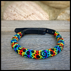 Electric Rainbow Beaded Round Leather Collar