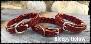 Leather Bleed Knot Dog Collar