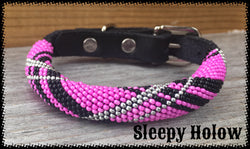 Pink Tartan Beaded Leather Collar