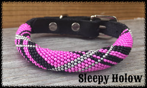 Pink Tartan Beaded Leather Dog Collar