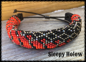 Red Belly Snake Skin Bead Cuff Bracelet