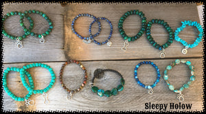 Dog Lover Gemstone Stretch Bracelets with Dog-themed Charms