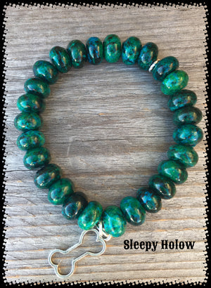 Chrysocolla Gemstone stretch bracelet with Dog Bone Charm