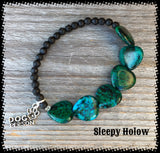 Chrysocolla and Black Lava Gemstone stretch bracelet with Dog Person Charm