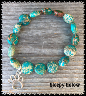 Turquoise Imperial Jasper Gemstone Stretch Bracelet with Dog Charms for the Dog Paw Charm