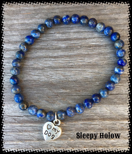 Blue Lapis Gemstone stretch bracelet with Love My Dog Charm