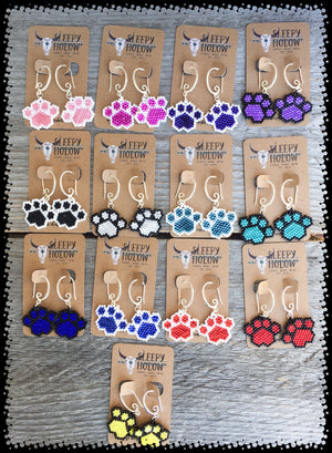 Dog Paw Print Bead Earrings