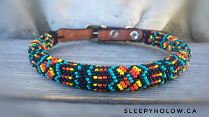 Native Beaded Round Leather Dog Collar