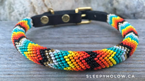 Custom Rolled Beaded Leather Dog Collar