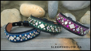 Custom Leather Blinged Dog Collar